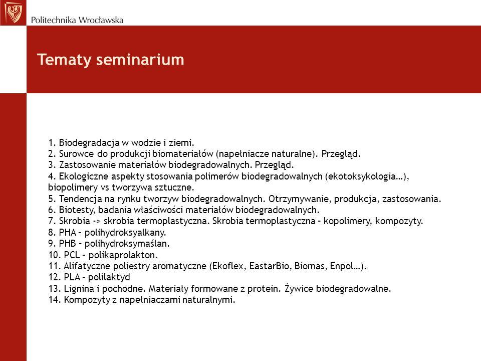 Tematy seminarium 1. Biodegradacja w wodzie i ziemi. 2. Surowce do produkcji biomateriałów (napełniacze naturalne). Przegląd. 3. Zastosowanie materiał