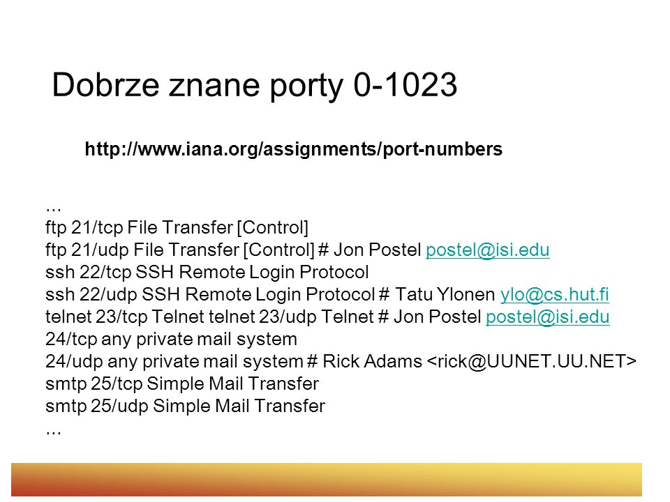Dobrze znane porty 0-1023 http://www.iana.org/assignments/port-numbers... ftp 21/tcp File Transfer [Control] ftp 21/udp File Transfer [Control] # Jon