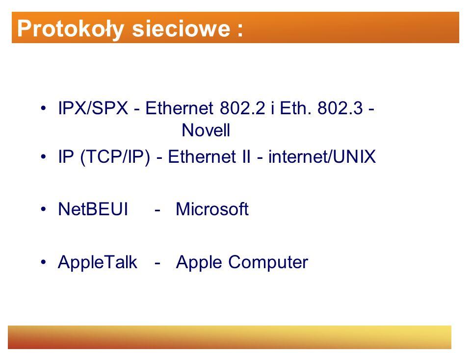 Protokoły sieciowe IPX/SPX (Internet Packet Exchange / Sequential Packet Exchange) - używany w sieciowym systemie operacyjnym Novell Netware.