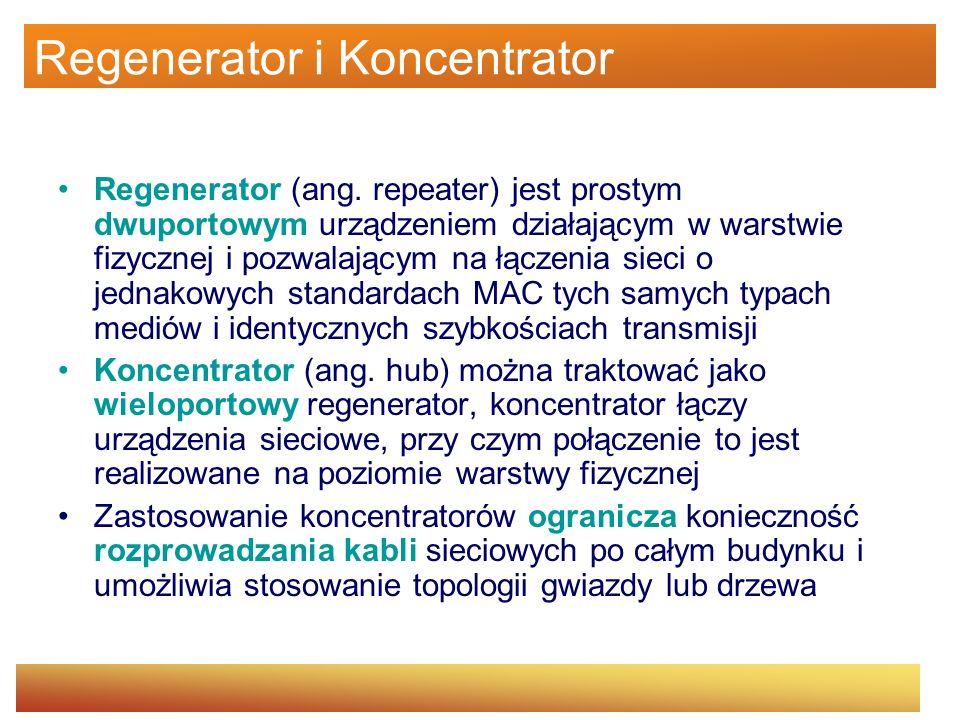 Regenerator i Koncentrator Regenerator (ang. repeater) jest prostym dwuportowym urządzeniem działającym w warstwie fizycznej i pozwalającym na łączeni