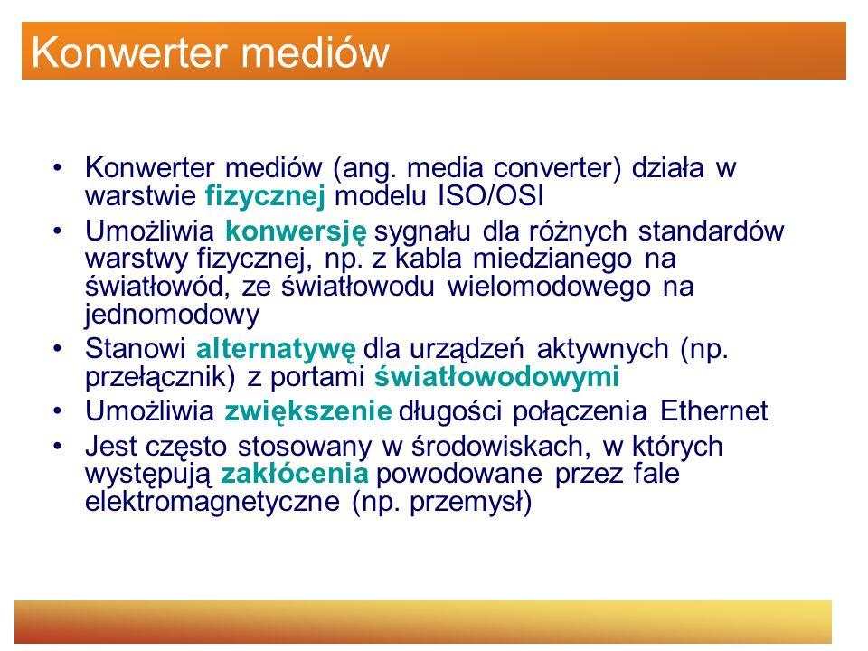 Konwerter mediów Konwerter mediów (ang. media converter) działa w warstwie fizycznej modelu ISO/OSI Umożliwia konwersję sygnału dla różnych standardów