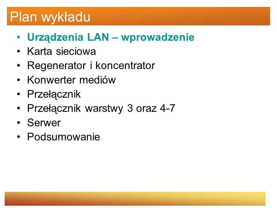 Urządzenia sieci LAN W zależności od konkretnych potrzeb w sieciach LAN używa się różnych urządzeń sieciowych, które mogą być oddzielnymi, specjalizowanymi urządzeniami (ang.