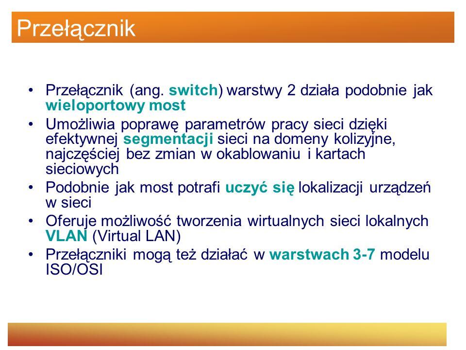 Przełącznik Przełącznik (ang. switch) warstwy 2 działa podobnie jak wieloportowy most Umożliwia poprawę parametrów pracy sieci dzięki efektywnej segme