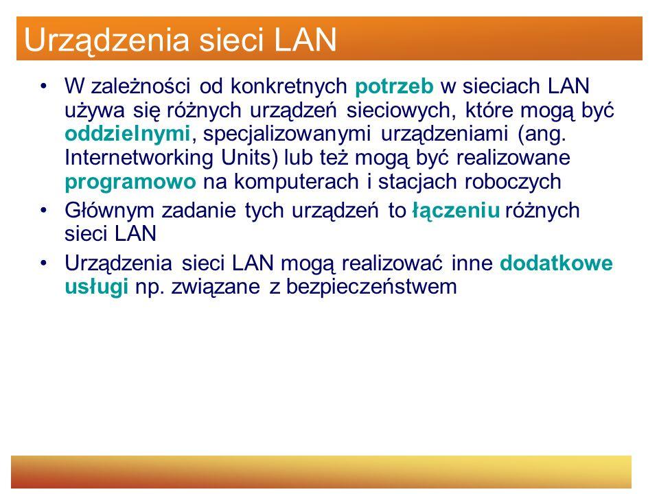W sieci Ethernet (10 Mb/s) dla koncentratorów stosuje się zasadę 5-4-3-2-1 Urządzenia podłączone do jednego koncentratora tworzą jedną domenę kolizyjną, czyli rywalizują o dostęp do medium i współdzielą pasmo przepustowości Koncentrator jest mało bezpiecznym urządzeniem, gdyż w ramach jednej domeny kolizyjnej można podsłuchiwać cały ruch sieciowy