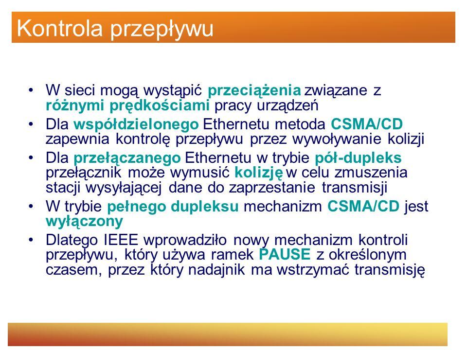 Kontrola przepływu W sieci mogą wystąpić przeciążenia związane z różnymi prędkościami pracy urządzeń Dla współdzielonego Ethernetu metoda CSMA/CD zape