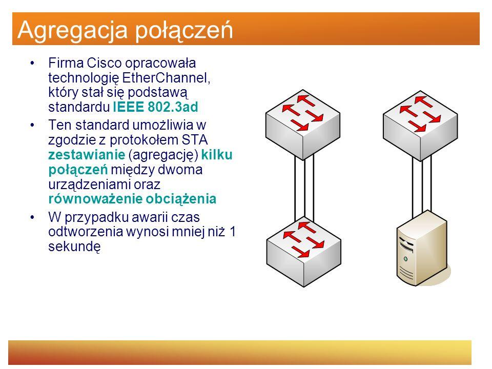 Agregacja połączeń Firma Cisco opracowała technologię EtherChannel, który stał się podstawą standardu IEEE 802.3ad Ten standard umożliwia w zgodzie z