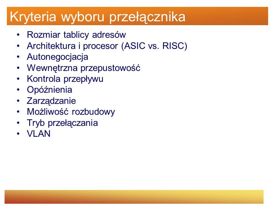 Kryteria wyboru przełącznika Rozmiar tablicy adresów Architektura i procesor (ASIC vs. RISC) Autonegocjacja Wewnętrzna przepustowość Kontrola przepływ