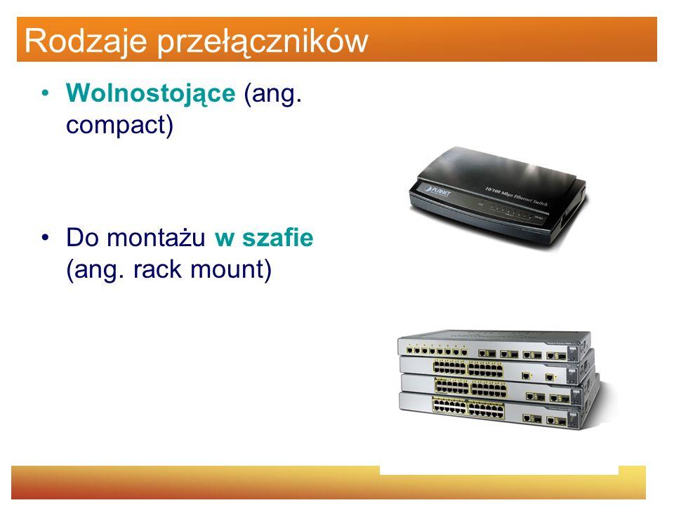 Rodzaje przełączników Wolnostojące (ang. compact) Do montażu w szafie (ang. rack mount)