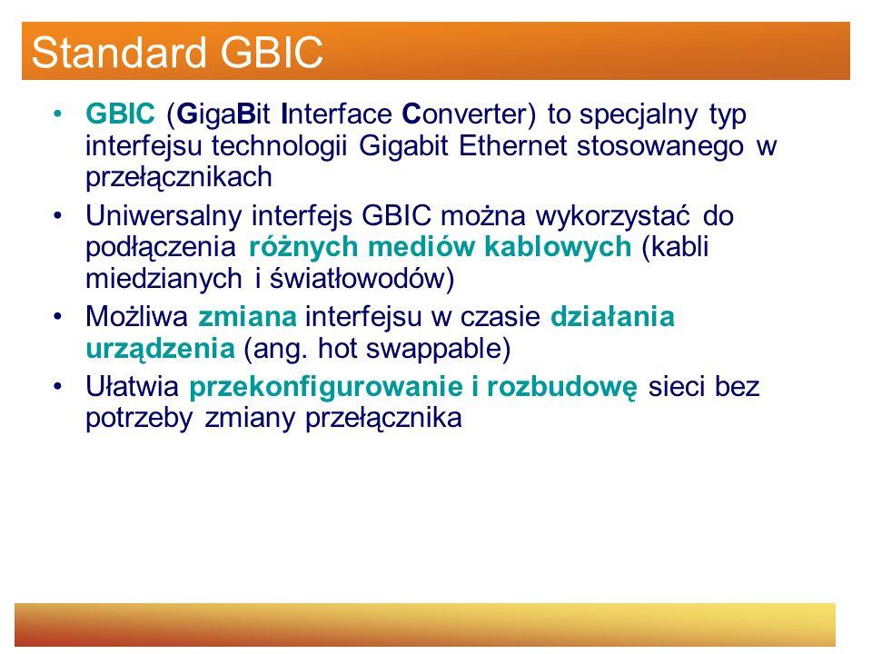 Standard GBIC GBIC (GigaBit Interface Converter) to specjalny typ interfejsu technologii Gigabit Ethernet stosowanego w przełącznikach Uniwersalny int