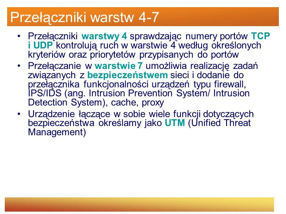 Przełączniki warstw 4-7 Przełączniki warstwy 4 sprawdzając numery portów TCP i UDP kontrolują ruch w warstwie 4 według określonych kryteriów oraz prio
