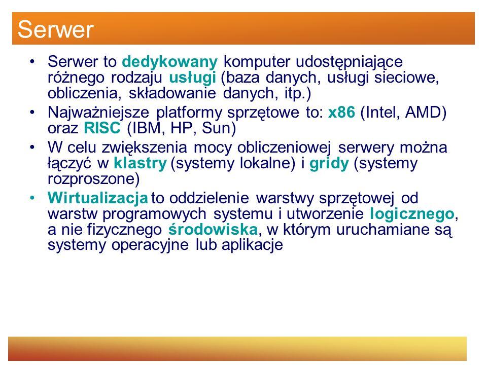 Serwer Serwer to dedykowany komputer udostępniające różnego rodzaju usługi (baza danych, usługi sieciowe, obliczenia, składowanie danych, itp.) Najważ
