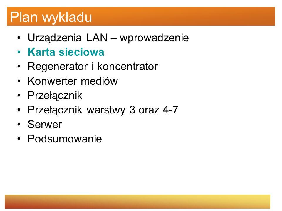 Plan wykładu Urządzenia LAN – wprowadzenie Karta sieciowa Regenerator i koncentrator Konwerter mediów Przełącznik Przełącznik warstwy 3 oraz 4-7 Serwer Podsumowanie