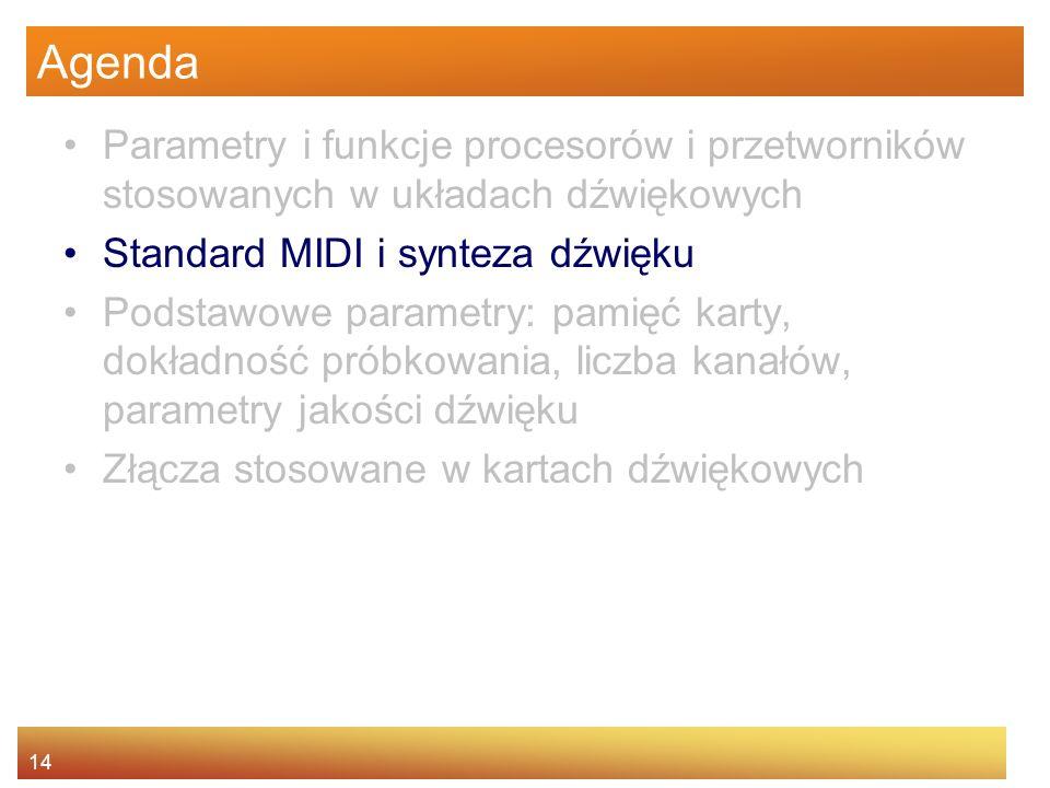 14 Agenda Parametry i funkcje procesorów i przetworników stosowanych w układach dźwiękowych Standard MIDI i synteza dźwięku Podstawowe parametry: pami