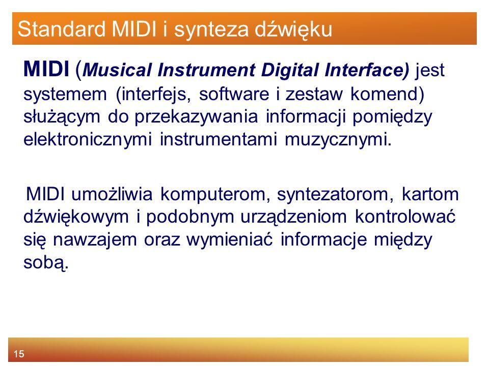 15 Standard MIDI i synteza dźwięku MIDI ( Musical Instrument Digital Interface) jest systemem (interfejs, software i zestaw komend) służącym do przeka