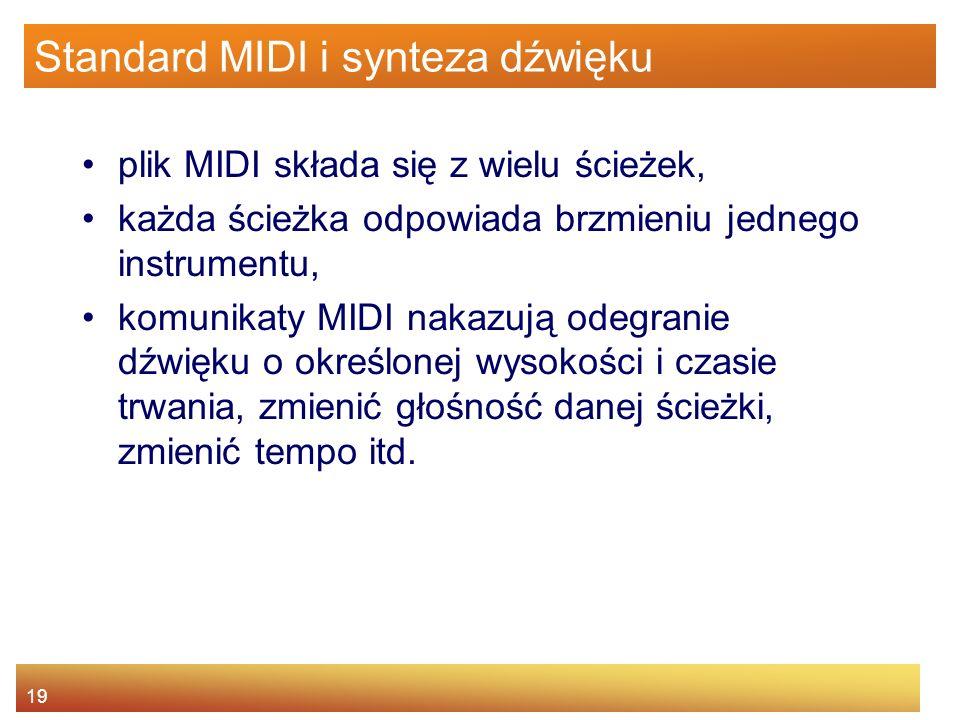 19 Standard MIDI i synteza dźwięku plik MIDI składa się z wielu ścieżek, każda ścieżka odpowiada brzmieniu jednego instrumentu, komunikaty MIDI nakazu