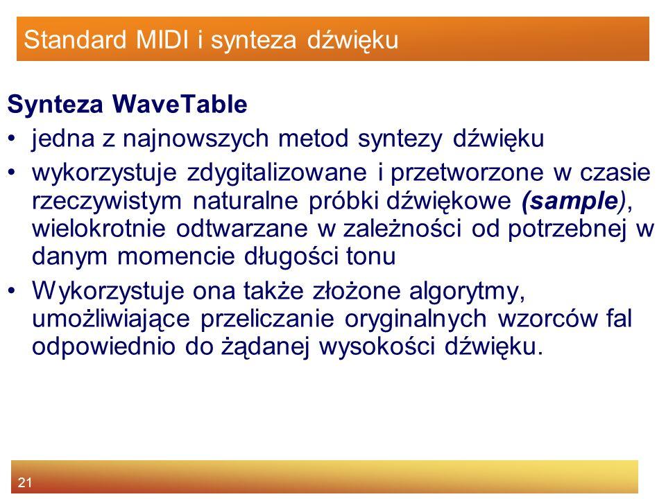 21 Standard MIDI i synteza dźwięku Synteza WaveTable jedna z najnowszych metod syntezy dźwięku wykorzystuje zdygitalizowane i przetworzone w czasie rz