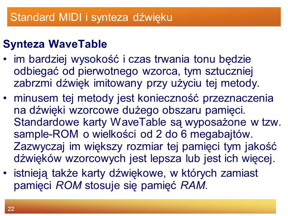 22 Standard MIDI i synteza dźwięku Synteza WaveTable im bardziej wysokość i czas trwania tonu będzie odbiegać od pierwotnego wzorca, tym sztuczniej za