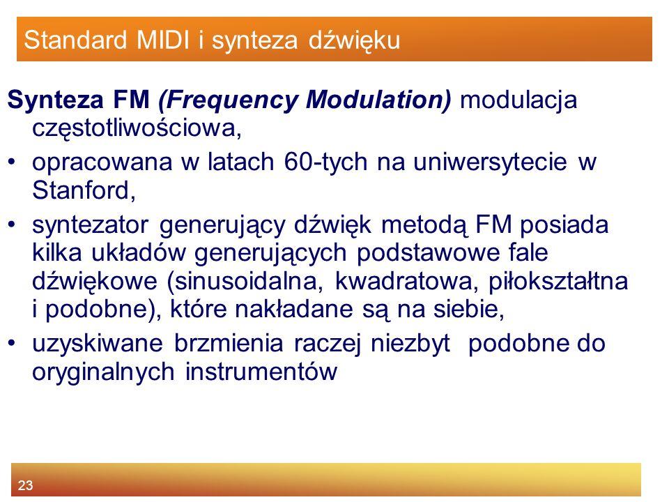 23 Standard MIDI i synteza dźwięku Synteza FM (Frequency Modulation) modulacja częstotliwościowa, opracowana w latach 60-tych na uniwersytecie w Stanf