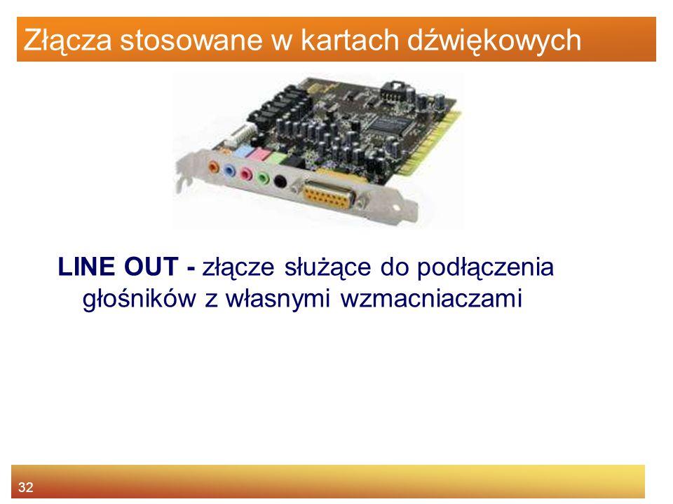 32 Złącza stosowane w kartach dźwiękowych LINE OUT - złącze służące do podłączenia głośników z własnymi wzmacniaczami
