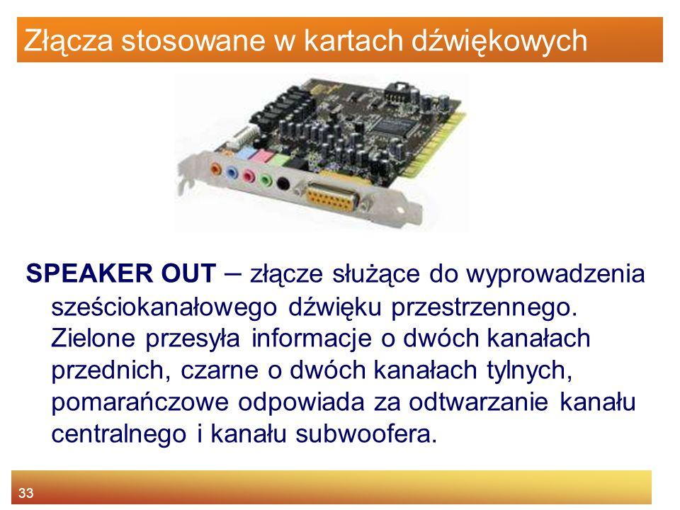 33 Złącza stosowane w kartach dźwiękowych SPEAKER OUT – złącze służące do wyprowadzenia sześciokanałowego dźwięku przestrzennego. Zielone przesyła inf
