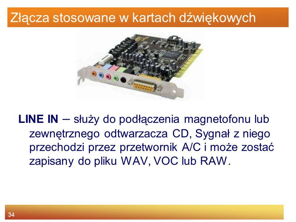 34 Złącza stosowane w kartach dźwiękowych LINE IN – służy do podłączenia magnetofonu lub zewnętrznego odtwarzacza CD, Sygnał z niego przechodzi przez