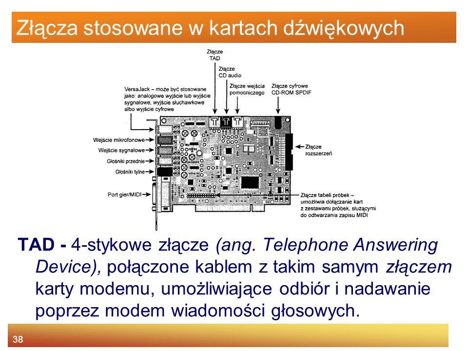 38 Złącza stosowane w kartach dźwiękowych TAD - 4-stykowe złącze (ang. Telephone Answering Device), połączone kablem z takim samym złączem karty modem