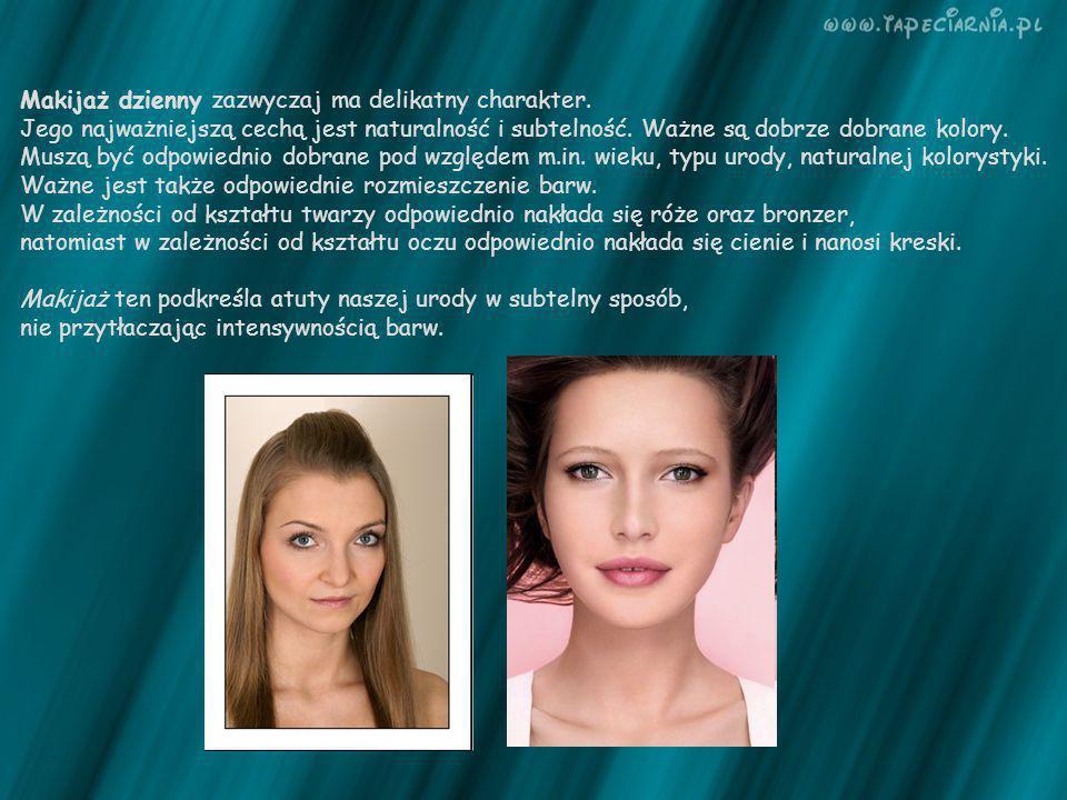 Makijaż dzienny zazwyczaj ma delikatny charakter. Jego najważniejszą cechą jest naturalność i subtelność. Ważne są dobrze dobrane kolory. Muszą być od
