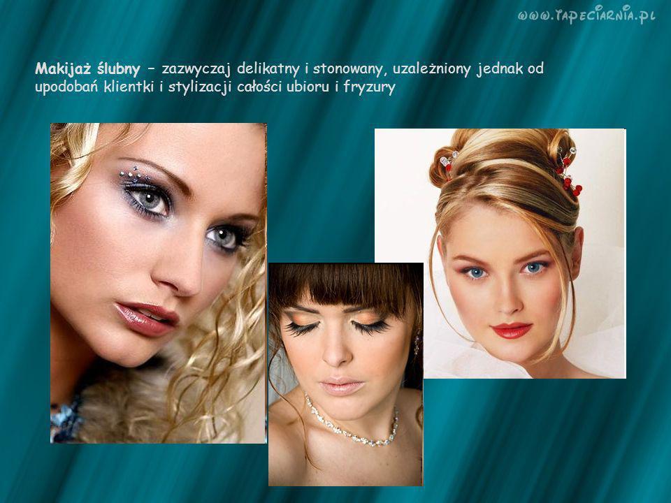 Makijaż ślubny – zazwyczaj delikatny i stonowany, uzależniony jednak od upodobań klientki i stylizacji całości ubioru i fryzury