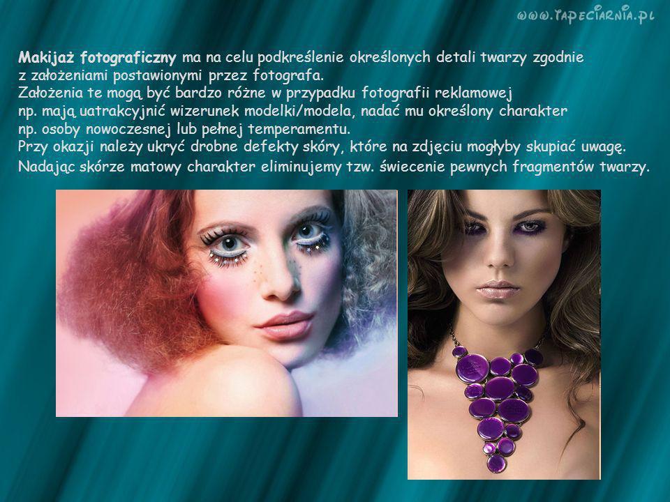 Makijaż fotograficzny ma na celu podkreślenie określonych detali twarzy zgodnie z założeniami postawionymi przez fotografa.