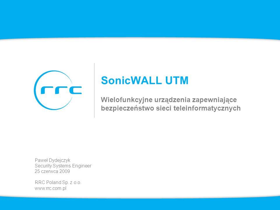2 Agenda Rozwiązania SonicWALL Wymagania biznesowe i technologie Nowe zagrożenia i wyzwania Zagrożenia i mechanizmy ochronne Wymagania stawiane systemom chroniącym sieci teleinformatyczne SonicWALL – rozwiązania UTM –Wprowadzenie –Zestawienie urządzeń –Funkcjonalności SonicOS Enhanced 5.x –Licencje i subskrypcje dodatkowe –Przykładowe zastosowania –Informacje dodatkowe