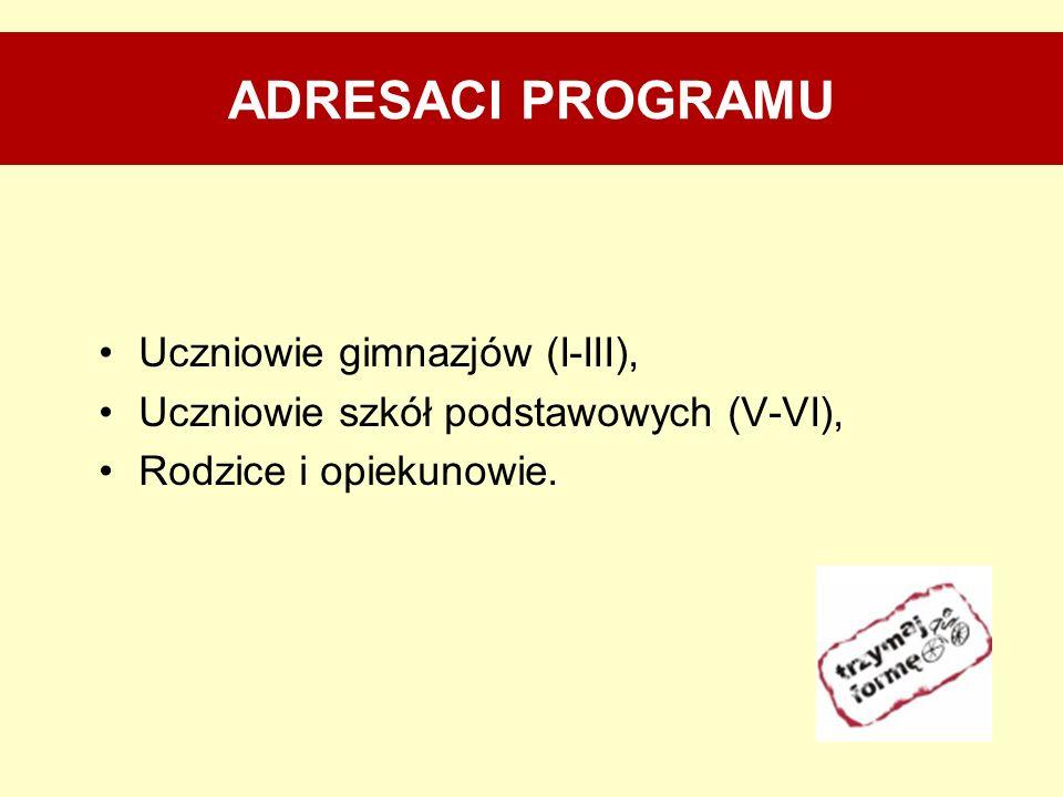 ADRESACI PROGRAMU Uczniowie gimnazjów (I-III), Uczniowie szkół podstawowych (V-VI), Rodzice i opiekunowie.