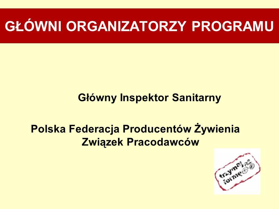 PARTNERZY PROGRAMU Instytut Żywności i Żywienia, Ministerstwo Edukacji Narodowej, Ministerstwo Sportu i Turystyki, Instytut Matki i Dziecka, Akademia Wychowania Fizycznego w Warszawie.
