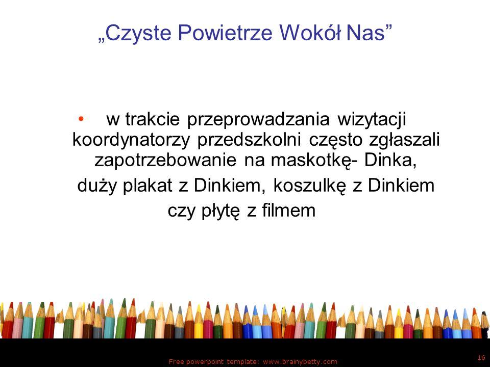 Free powerpoint template: www.brainybetty.com 16 Czyste Powietrze Wokół Nas w trakcie przeprowadzania wizytacji koordynatorzy przedszkolni często zgła