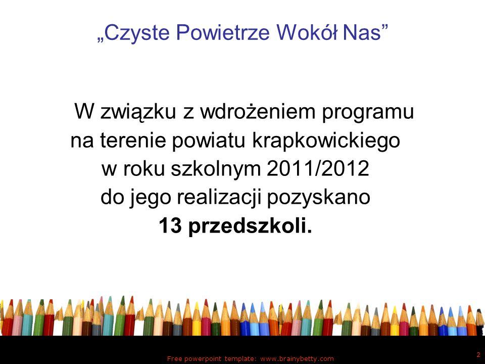 Free powerpoint template: www.brainybetty.com 3 Czyste Powietrze Wokół Nas Program realizowany był przez: pracownika Sekcji Promocji Zdrowia i Oświaty Zdrowotnej PSSE w Krapkowicach, 13 nauczycieli wychowania przedszkolnego.