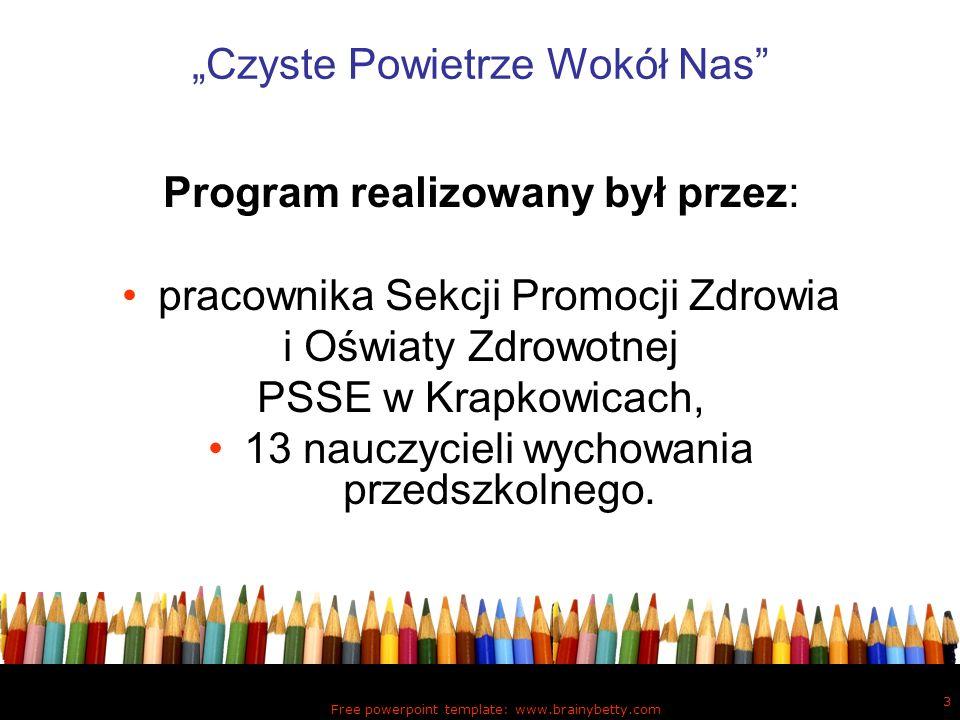 Free powerpoint template: www.brainybetty.com 3 Czyste Powietrze Wokół Nas Program realizowany był przez: pracownika Sekcji Promocji Zdrowia i Oświaty