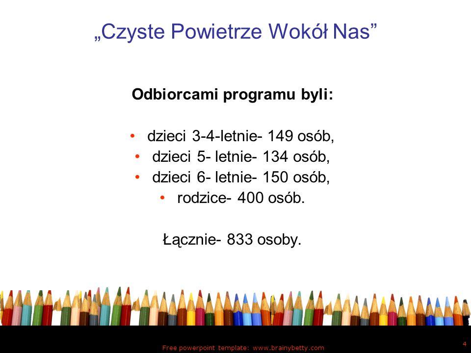 Free powerpoint template: www.brainybetty.com 4 Czyste Powietrze Wokół Nas Odbiorcami programu byli: dzieci 3-4-letnie- 149 osób, dzieci 5- letnie- 13