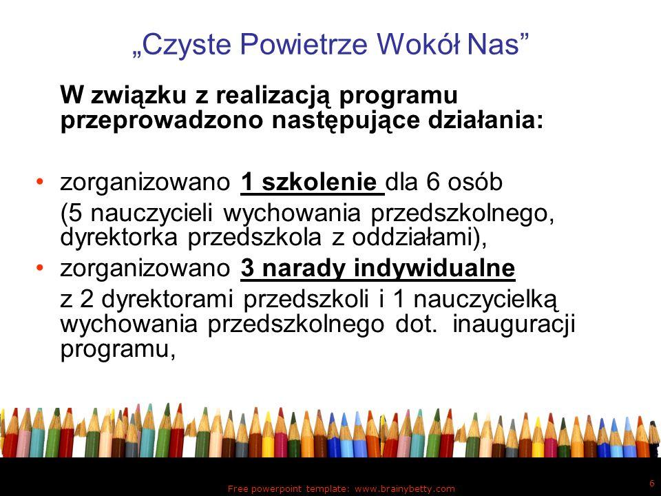 Free powerpoint template: www.brainybetty.com 6 Czyste Powietrze Wokół Nas W związku z realizacją programu przeprowadzono następujące działania: zorga