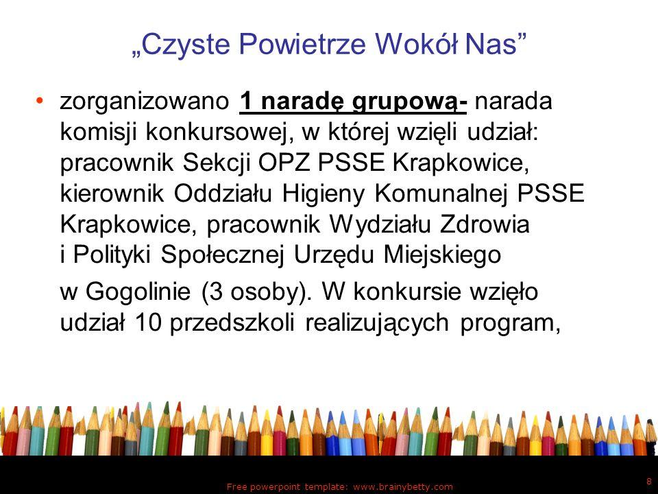 Free powerpoint template: www.brainybetty.com 8 Czyste Powietrze Wokół Nas zorganizowano 1 naradę grupową- narada komisji konkursowej, w której wzięli