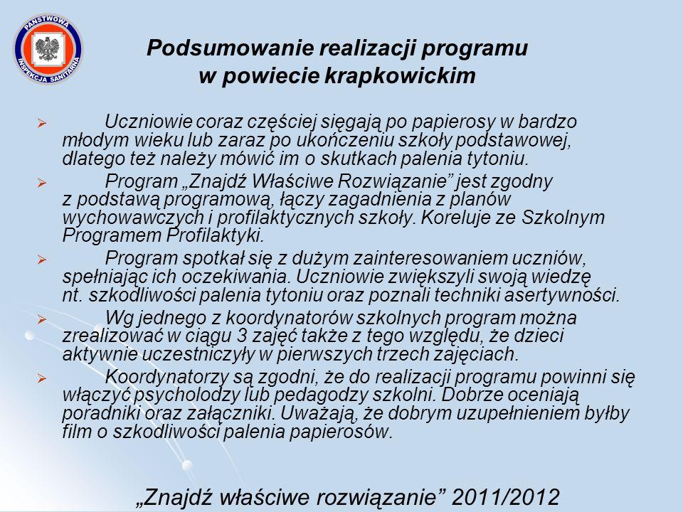 Znajdź właściwe rozwiązanie 2011/2012 Przebieg monitoringu Przeprowadzono wizytacje w 6 placówkach, co stanowi 66,7 % placówek realizujących program na terenie powiatu krapkowickiego w roku szkolnym 2011/2012.