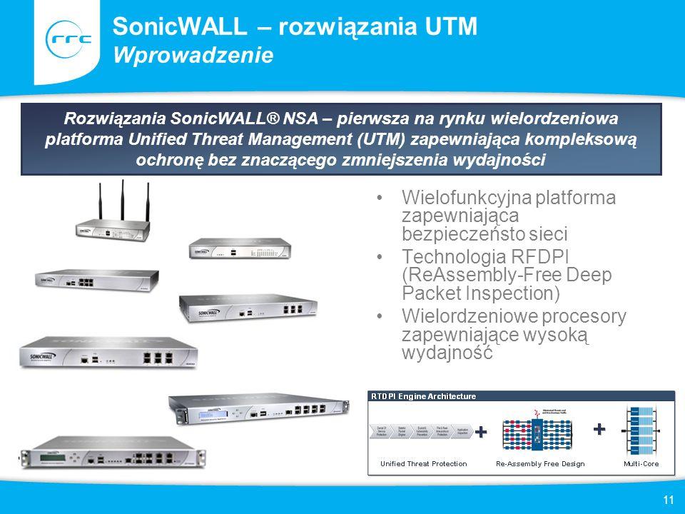 11 SonicWALL – rozwiązania UTM Wprowadzenie Rozwiązania SonicWALL® NSA – pierwsza na rynku wielordzeniowa platforma Unified Threat Management (UTM) za