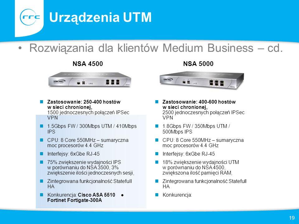 19 Urządzenia UTM Rozwiązania dla klientów Medium Business – cd. NSA 4500 Zastosowanie: 250-400 hostów w sieci chronionej, 1500 jednoczesnych połączeń