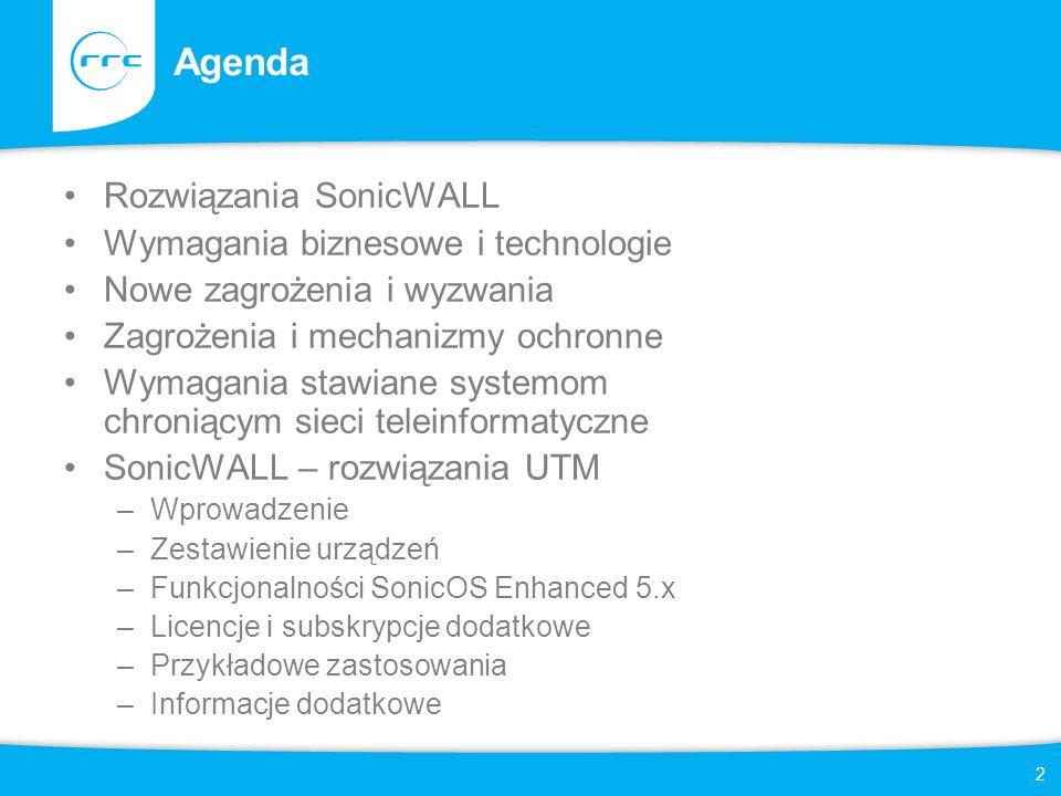 2 Agenda Rozwiązania SonicWALL Wymagania biznesowe i technologie Nowe zagrożenia i wyzwania Zagrożenia i mechanizmy ochronne Wymagania stawiane system