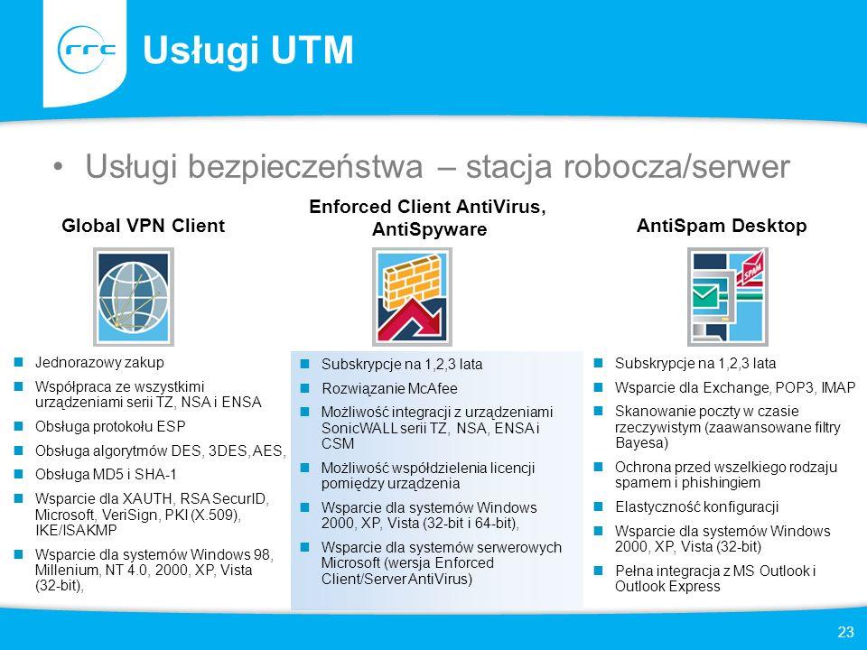 23 Usługi UTM Usługi bezpieczeństwa – stacja robocza/serwer Jednorazowy zakup Współpraca ze wszystkimi urządzeniami serii TZ, NSA i ENSA Obsługa proto