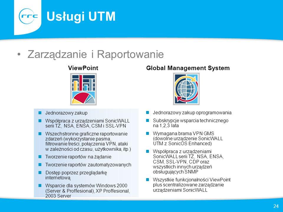 24 Usługi UTM Zarządzanie i Raportowanie ViewPoint Jednorazowy zakup Współpraca z urządzeniami SonicWALL serii TZ, NSA, ENSA, CSM i SSL-VPN Wszechstro