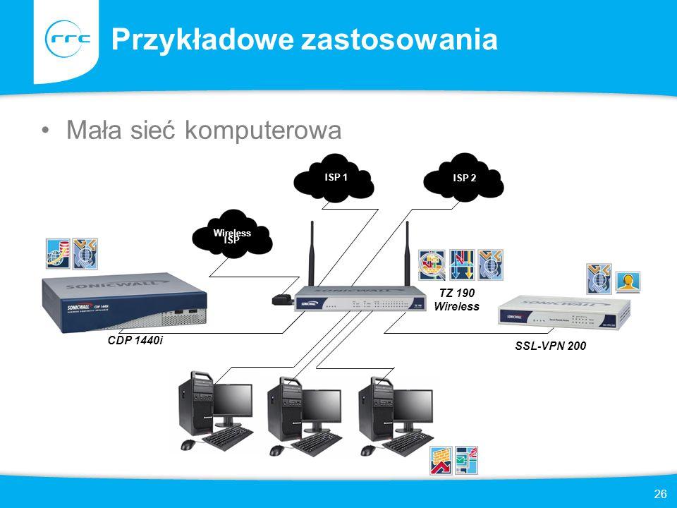 26 Przykładowe zastosowania Mała sieć komputerowa Wireless ISP ISP 1 ISP 2 CDP 1440i TZ 190 Wireless SSL-VPN 200