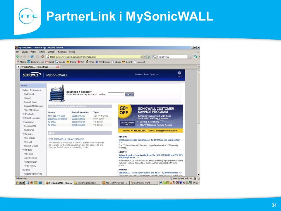 34 PartnerLink i MySonicWALL