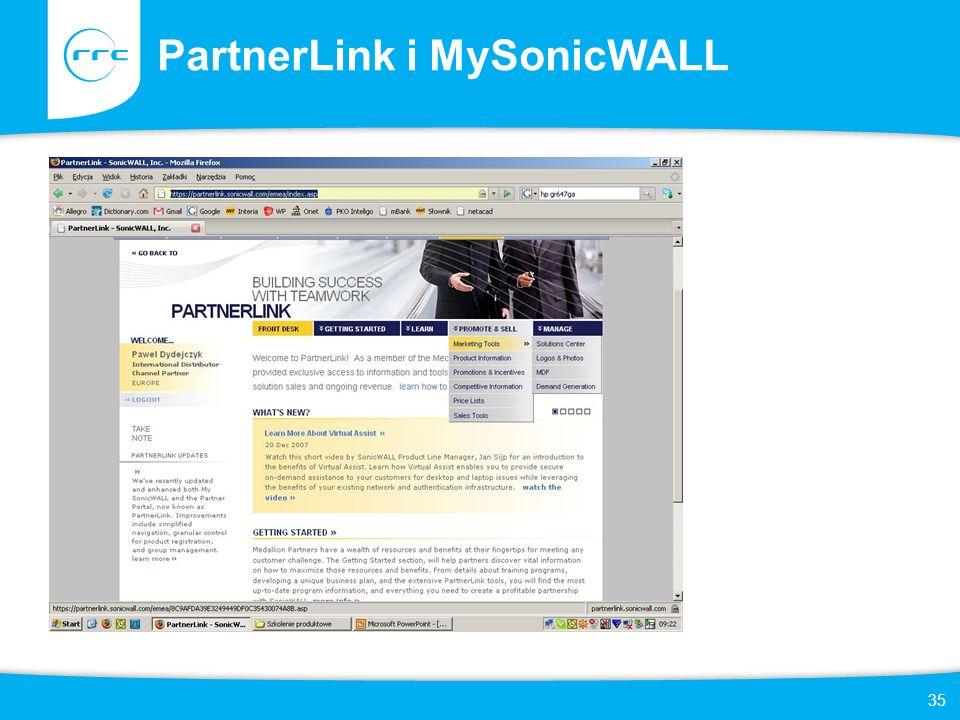 35 PartnerLink i MySonicWALL