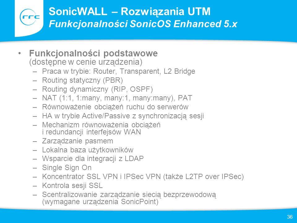36 SonicWALL – Rozwiązania UTM Funkcjonalności SonicOS Enhanced 5.x Funkcjonalności podstawowe (dostępne w cenie urządzenia) –Praca w trybie: Router,