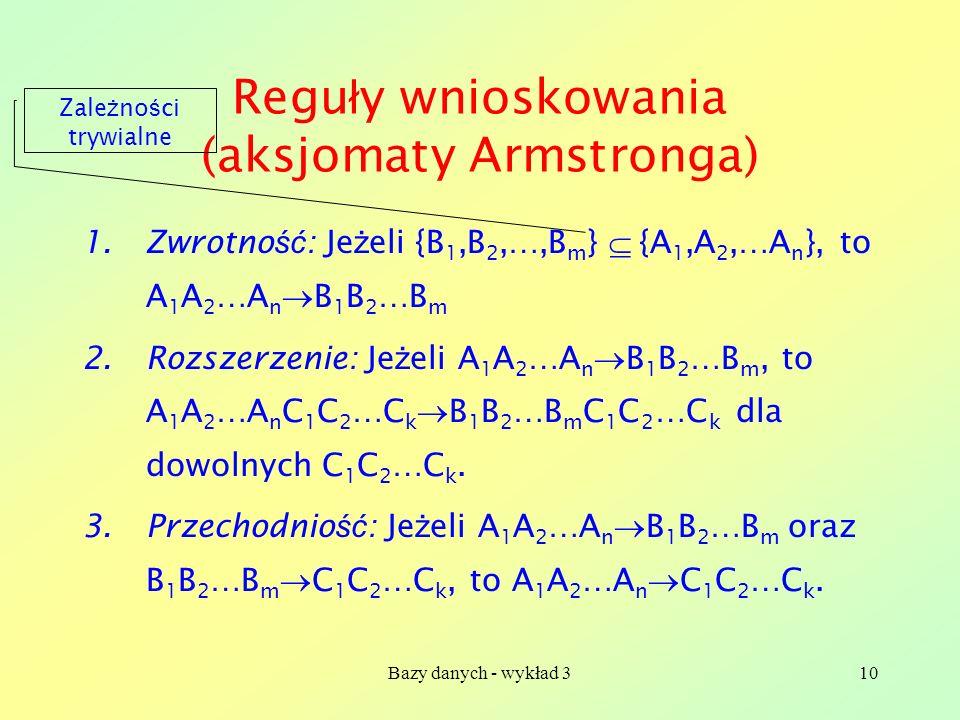 Bazy danych - wykład 310 Regu ł y wnioskowania (aksjomaty Armstronga) 1.Zwrotno ść : Je ż eli {B 1,B 2,…,B m } {A 1,A 2,…A n }, to A 1 A 2 …A n B 1 B
