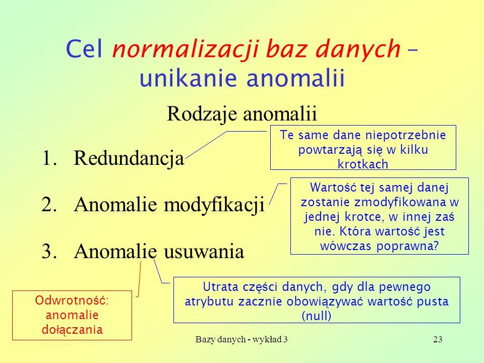 Bazy danych - wykład 323 Cel normalizacji baz danych – unikanie anomalii Rodzaje anomalii 1.Redundancja 2.Anomalie modyfikacji 3.Anomalie usuwania Te
